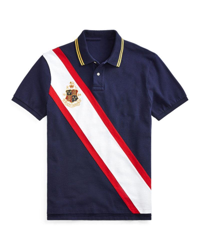 Yüksek Kalite Klasik RL Yarış Tasarımcısı Erkek Polo # 018 Kapalı Lüks Kısa Kollu Beyaz Yaz Marka Rahat Moda Nakış Yaka T-shirt Bb