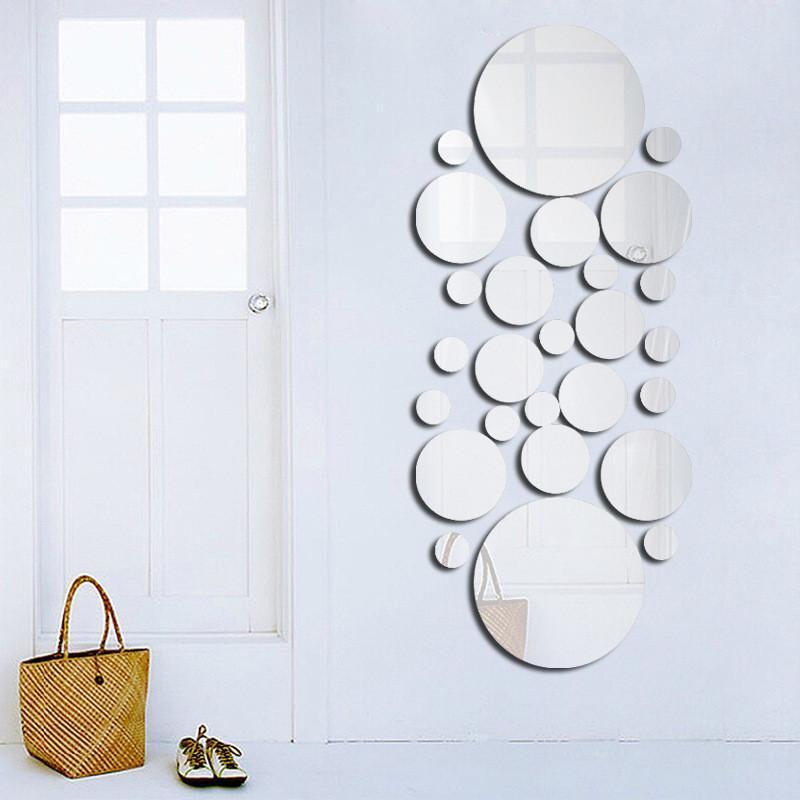 Geometrische Kreis Spiegel Wandaufkleber Home Hintergrund Dekoration Dekoration Dekoration 3D Zubehör Stereo Abnehmbare Rundspiegel