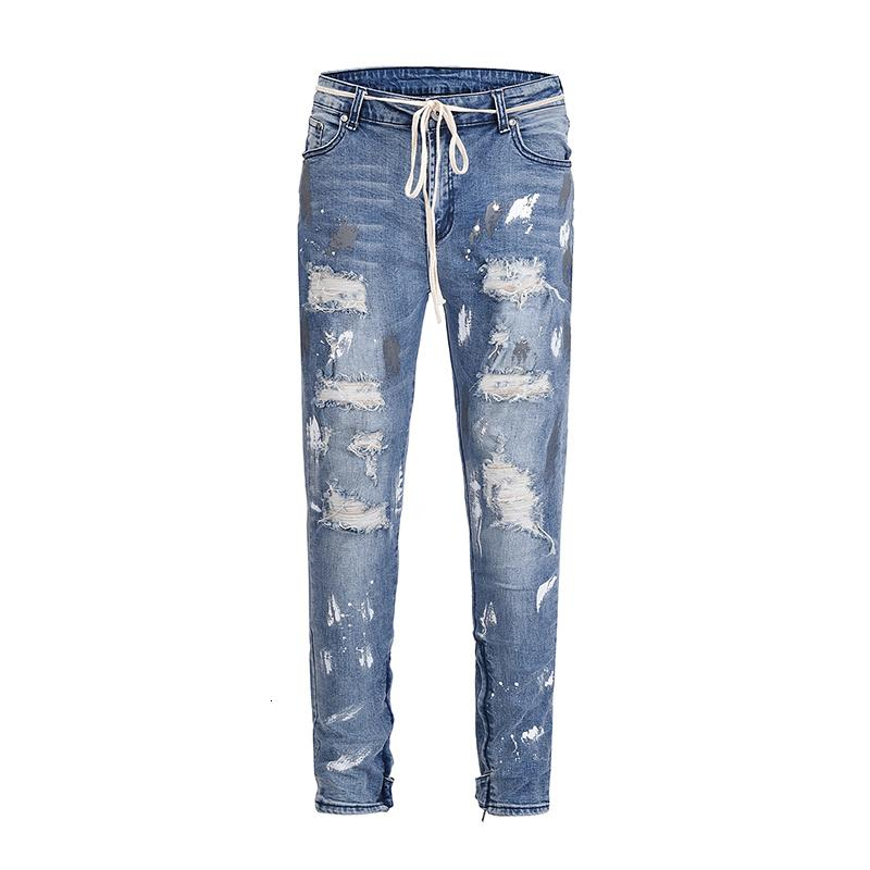 2021 New Europe America Kanye West High Street Wind Graffiti Beggar Men Fog Hole Inside Zipper Stretch Slim Jeans 30-36 Dcqf