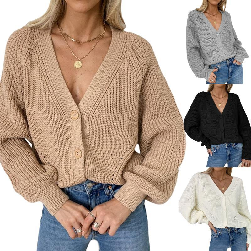 2021 Womens Jacket Solid Color Cardigan Female Puff Sleeve V-neck Knitwear Autumn and Winter Top Cardigan