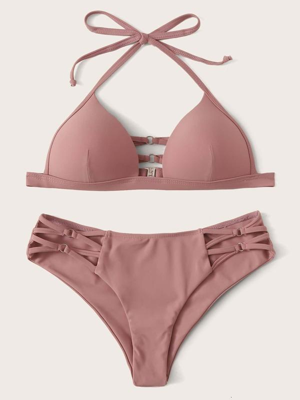 2021 Novo saco duro sexy com pescoço e laço para cima calças transversais Bikini Women's Swimsuit