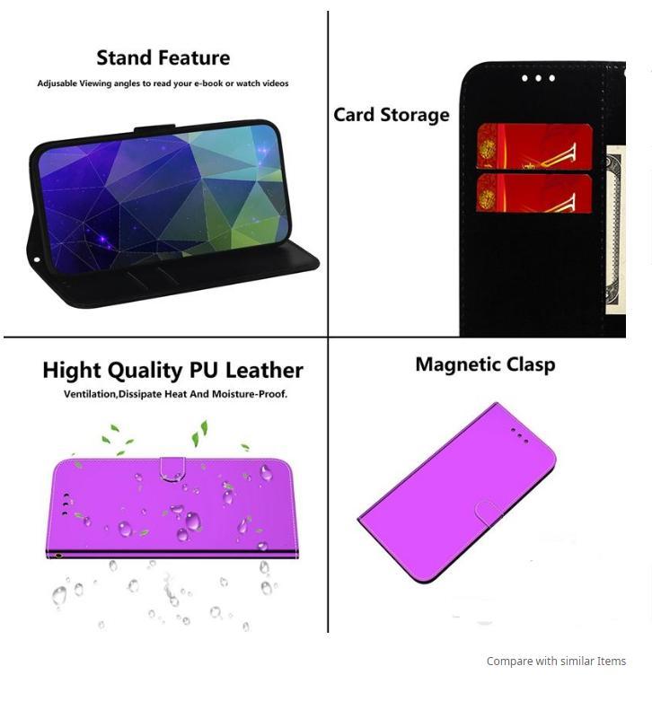 Capas de carteira de couro espelho para Samsung Nota 20 Ultra A21S M31 A31 A11 A21 A41 A70 A81 A91 Gradiente Gradiente Cartão De Cartão Flip Capa