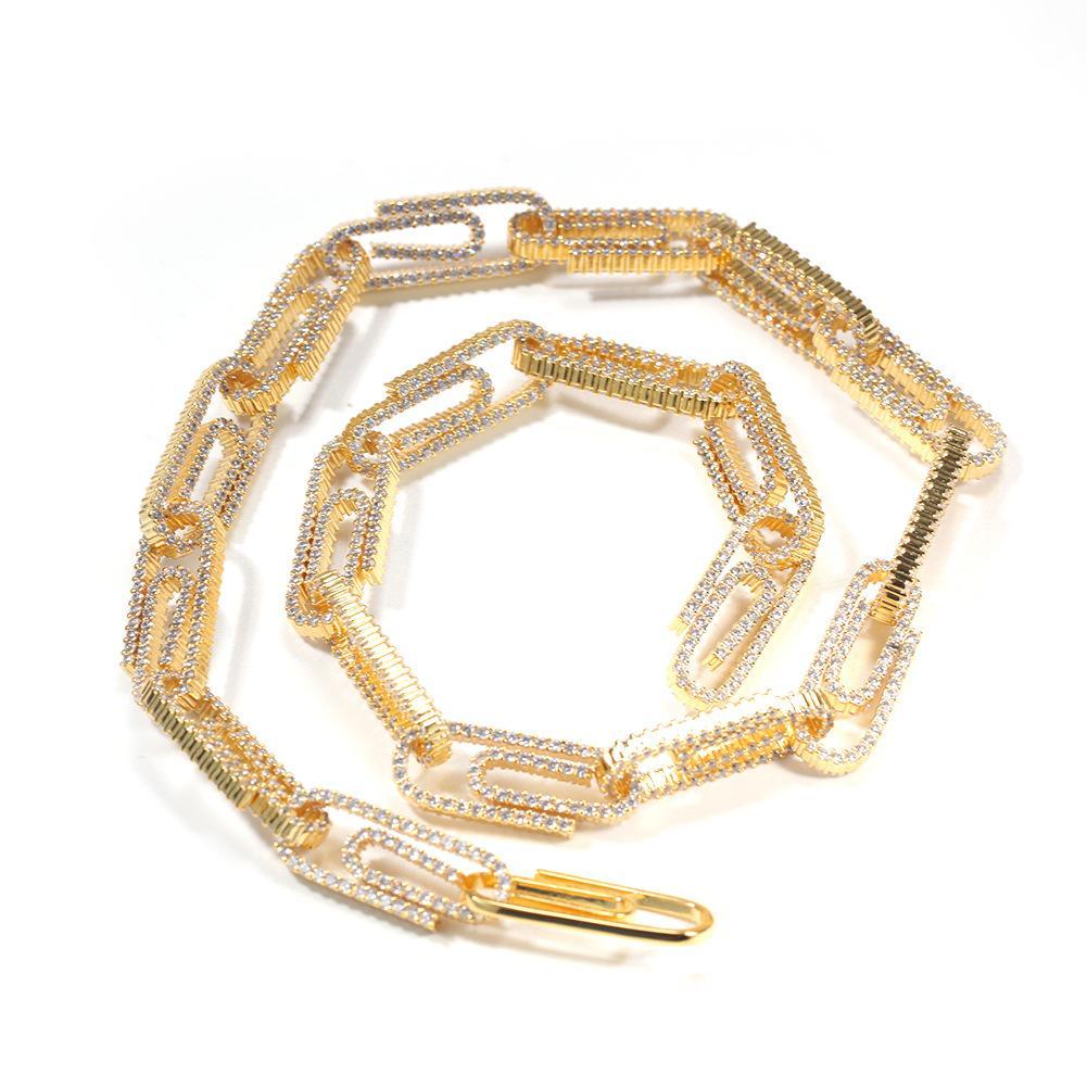 Tenis, graduado Hip Hop Bling Iced Out Cubic Zircon Hombres Color de oro 10 mm Botón de clip de papel Cadena cubana Neckalce Amplio Personalidad J