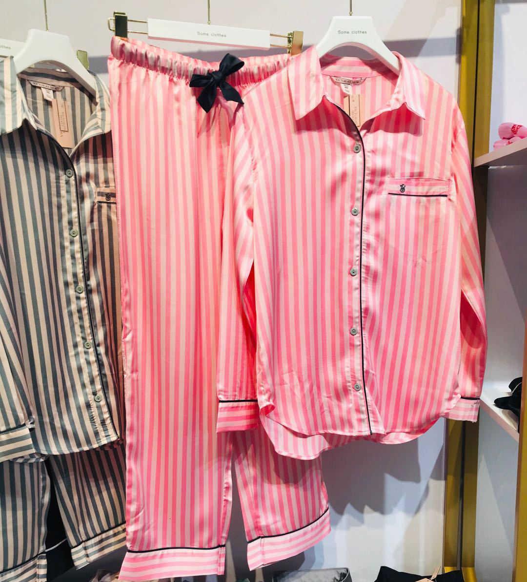 Pijamas de primavera de verano para pantalones, pantalones para mujer Ropa de dormir de seda satinada Dos piezas Set de manga larga PJS de manga larga PJS Salón Desgaste de la noche ropa de hogar