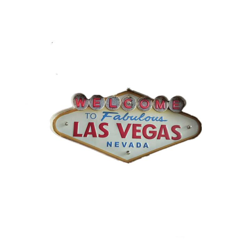 Wholesale- Las Vegas Decoration Metal Painting Neon Welcome Signs Led Bar Wall Decoration 707 K2