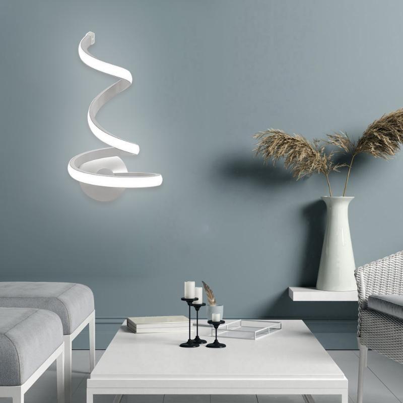 Modern Spiral LED Duvar Işık Akrilik Metal Aplikler Lambası Başucu Oturma Odası Yatak Odası Dekorasyon için Enerji Tasarruflu İç Aydınlatma