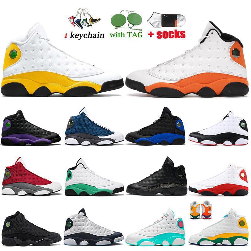 13 13s Erkekler Basketbol Ayakkabı MAHKEME MOR Düşük Chutney Kap Ve Kıyafeti Siyah Kedi hiper kraliyet chicago Boyutu 7-13