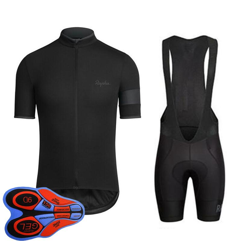 Rapha Team Cycling Manica Corta Jersey (Bib) Pantaloncini Insieme uniforme MTB Ropa Ciclismo Mens Maillot Culotte 9D Gel pad Bicycle Outfits S21031602
