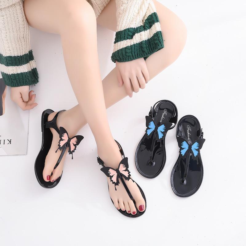 LEOSOXS Butterfly Flip Flops Women Sandals Flat Casual Gladiator Sandals Women Summer Shoes Non-slip Female Beach 2021