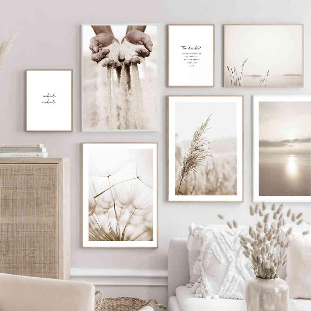 Beige Dandelion Grass Nature Canvas Painting Bohemia Poster Print Wall Art Pictures for Living Room Modern Interior Home Decor