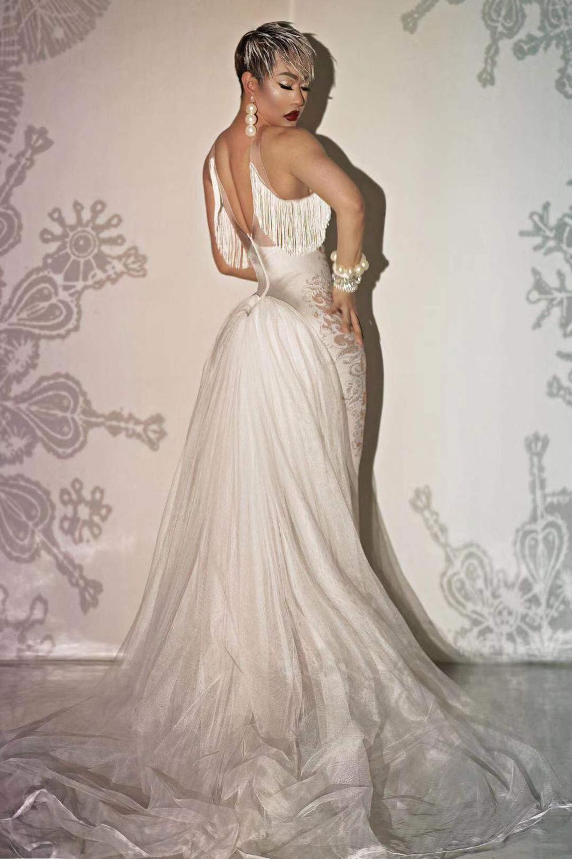 Новый дизайн печати кисточка белое хвостовое платье танцевать костюм рождения празднуйте вечеринку длинное платье бар певица производительность