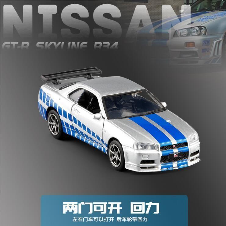1:36 مقياس دييكاست نموذج سيارة لنيسان GT-R R34 جمع سحب الألعاب سبائك معدنية