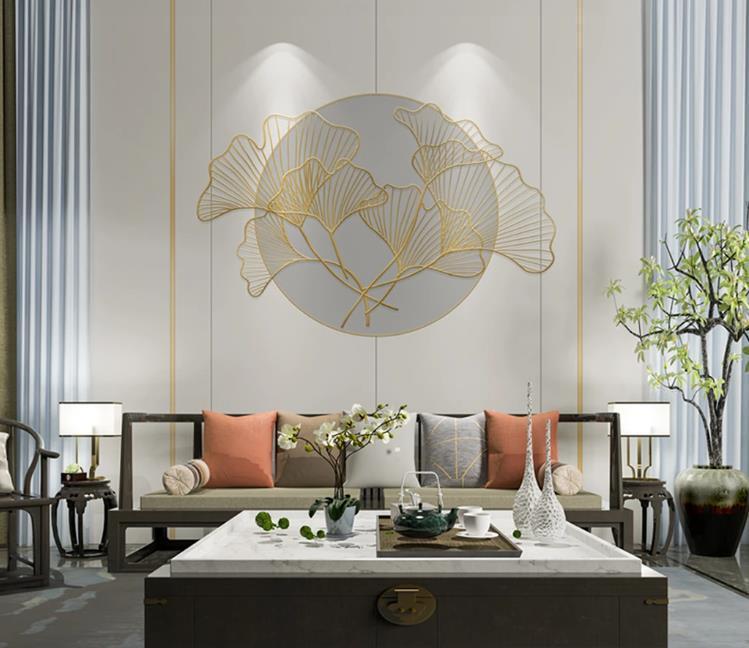 Duvar Kağıtları Modern Duvar Kağıdı Oturma Odası 3D Üç Boyutlu Ginkgo Yuvarlak Çerçeve Çizgileri Kanepe Arka Plan Duvar