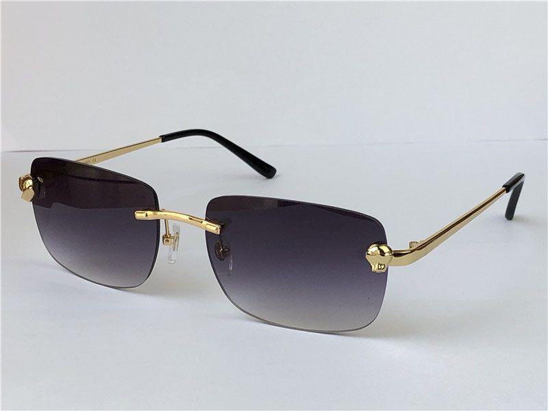 디자인 선글라스 패션 남성 작은 사각형 프레임 금속 동물 무 ridless 안경 현대 빈티지 아이 워 최고 품질의 경우 UV 400 렌즈 0148