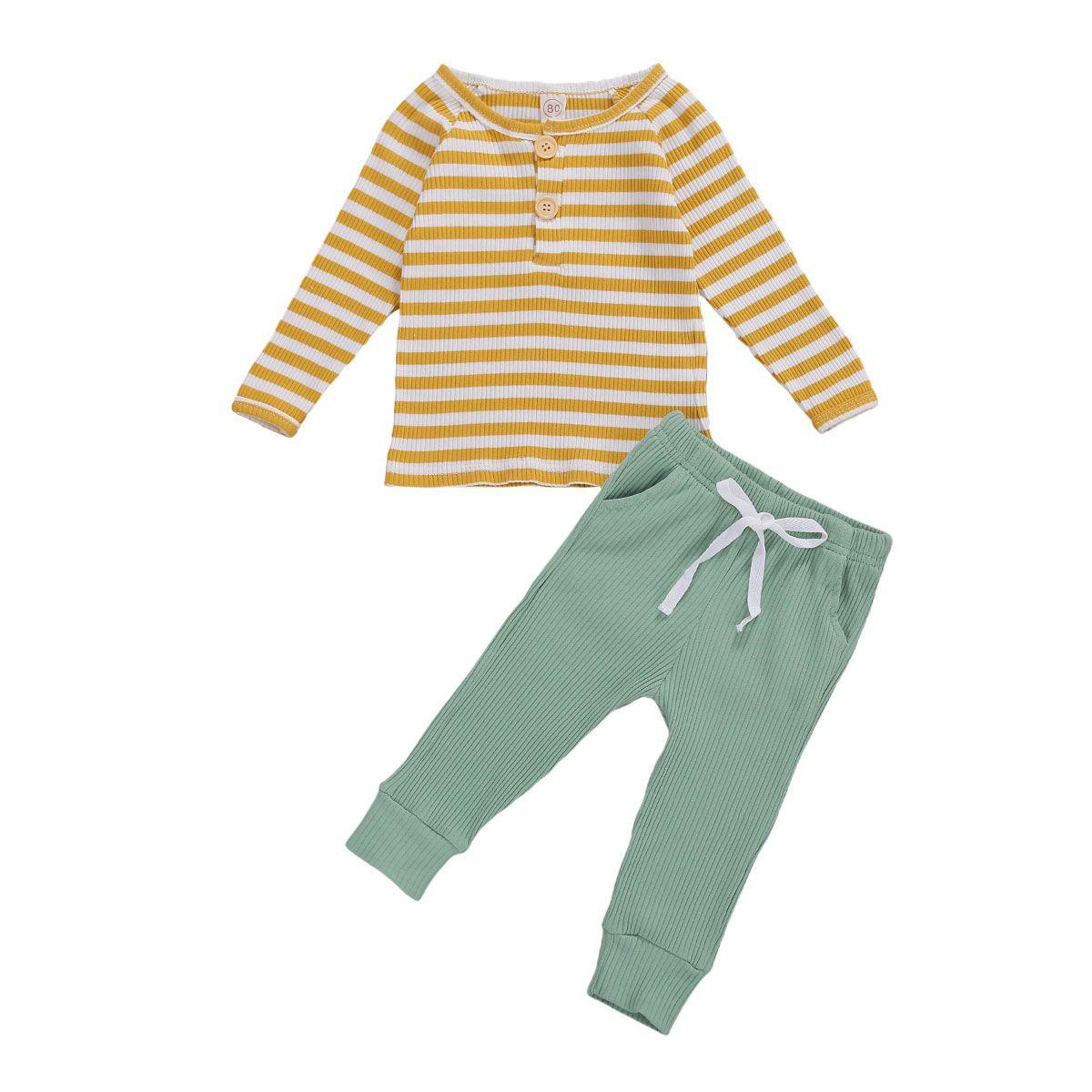 Neue Baby Mädchen Streifen Oansatz Hohe Taille Outfits Mädchen Langarm T-shirts Kinder Tops Hosen Set Frühling 2pcs / set