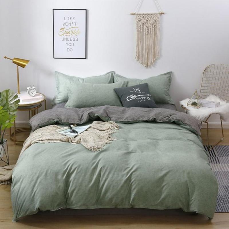 Bettwäsche-Sets Moderne Soild Color Home Textile Grid Stoff Rosa Blau Niedlich Set Zwillingskönigin King Größe