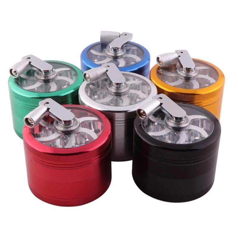 4 Schichten Tasche Handbetätigte Zinklegierung Kräuterschleifer mit sichtbarem Fenster E-Zigarette 55mm / 63mmTobacco Slicer Rauchen Zubehör