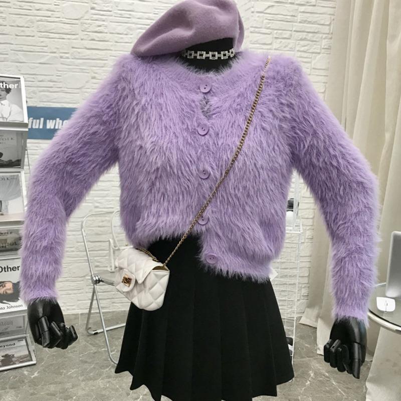 Обрезанный кардиган свитер V шеи норки кашемировой свитер женщины негабаритные рождественские пушистые кардиганы 2021 корейская зимняя тяга