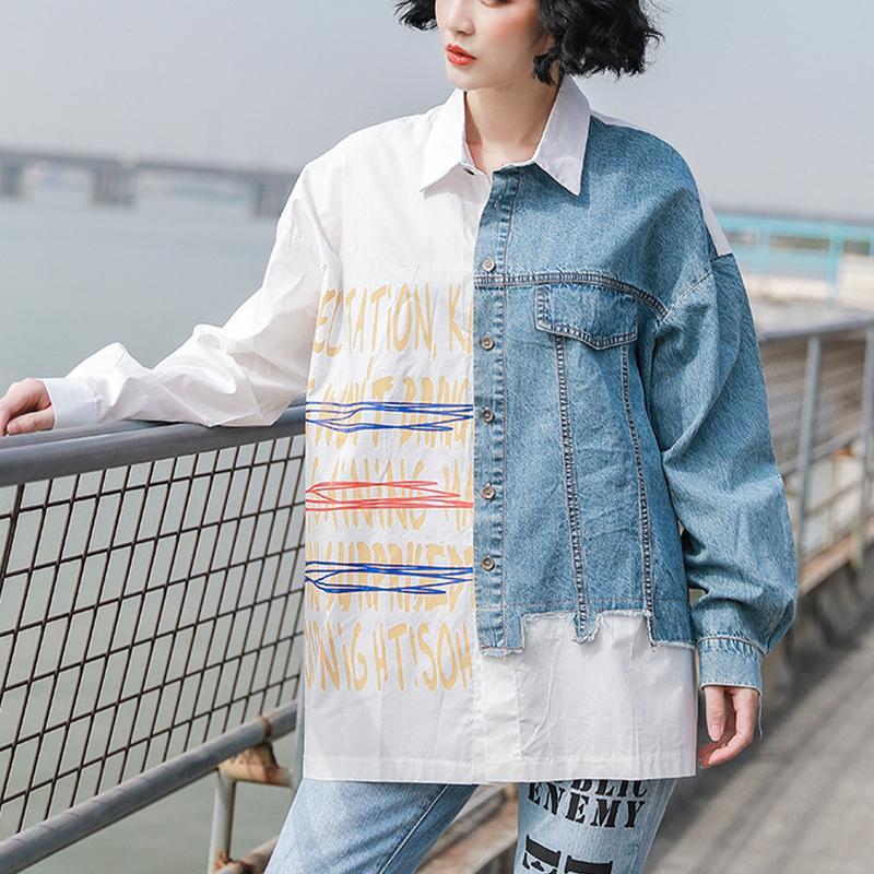 Дизайн рубашка женская весна и осень 2021 новая оригинальная женская свободная шить джинсовая рубашка с длинным рукавом тонкий верх