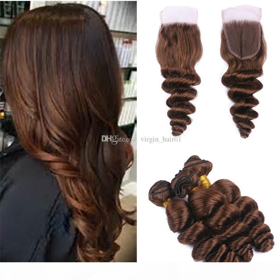 Brown Humain Hair Wefts avec fermeture # 4 Fermeture de dentelle brune moyenne avec des bombes à cheveux lâches 4pcs lot