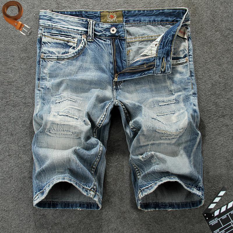 2021 Nuevo verano moda azul destruido rasgado corto hombre streetwear hip hop jeans pantalones cortos hombres bermudas masculino l47g