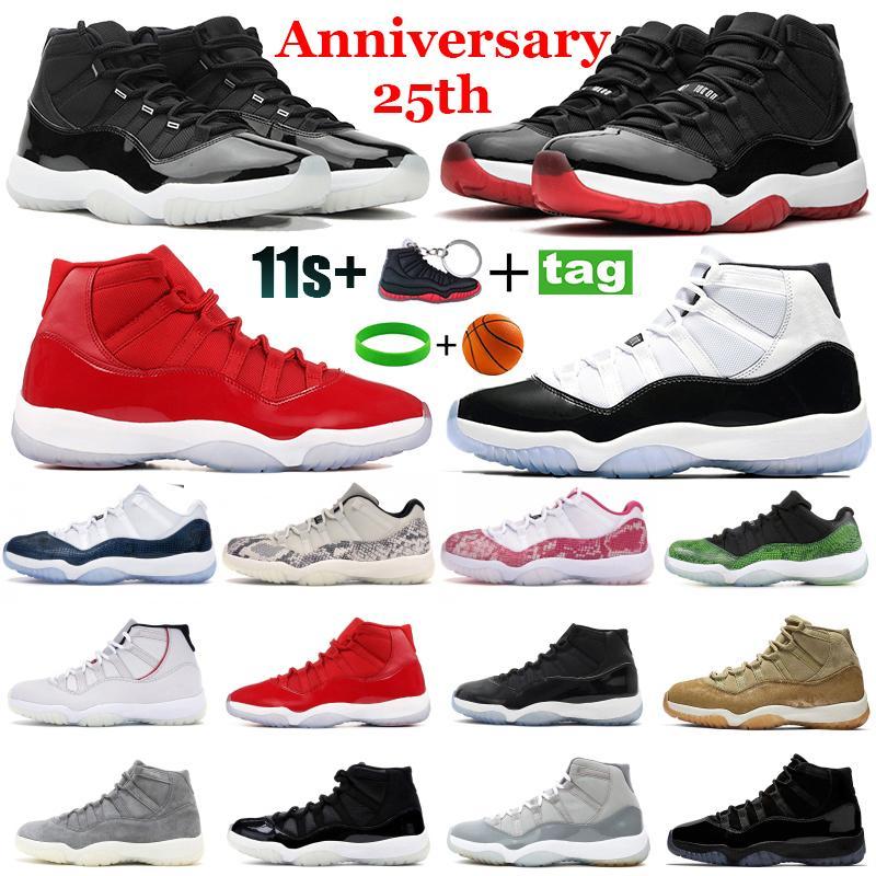 Новые 11 25-летие 11s Мужчины Баскетбольные туфли Высокий низкий развод Concord 45 тренажерный зал Красный выигрыш гамма-синий прохладный серые женщины бегущие кроссовки