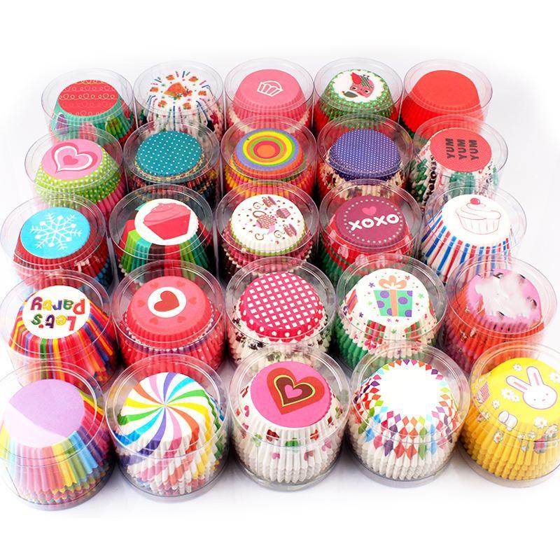Coupes à gâteaux à l'huile 30 Style Cupcake Moule 100pcs / PVC Bucket emballage de pain chocolat Outils de cuisson XD24572