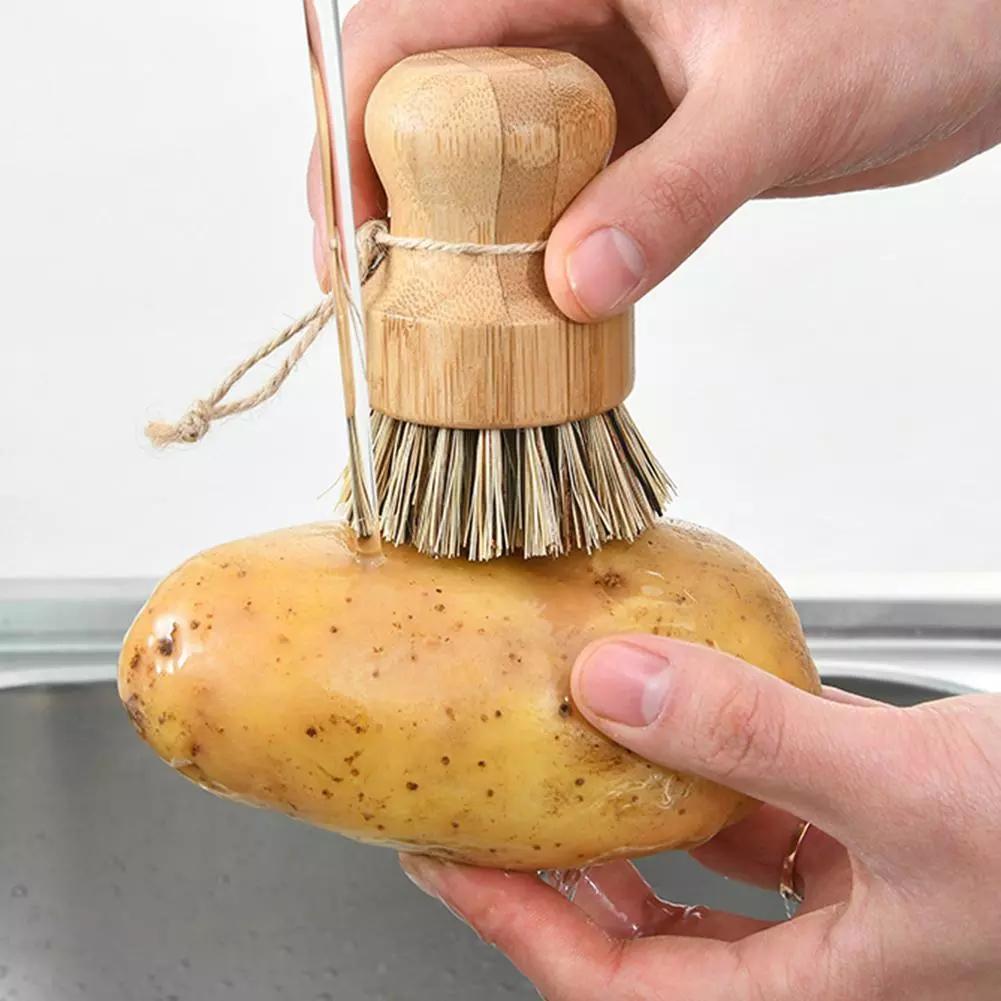المحمولة خشبية فرشاة المطبخ الأعمال تنظيف أداة سيسال النخيل طبق تنظيف فرشاة خشبية تنظيف فرش DHE5042