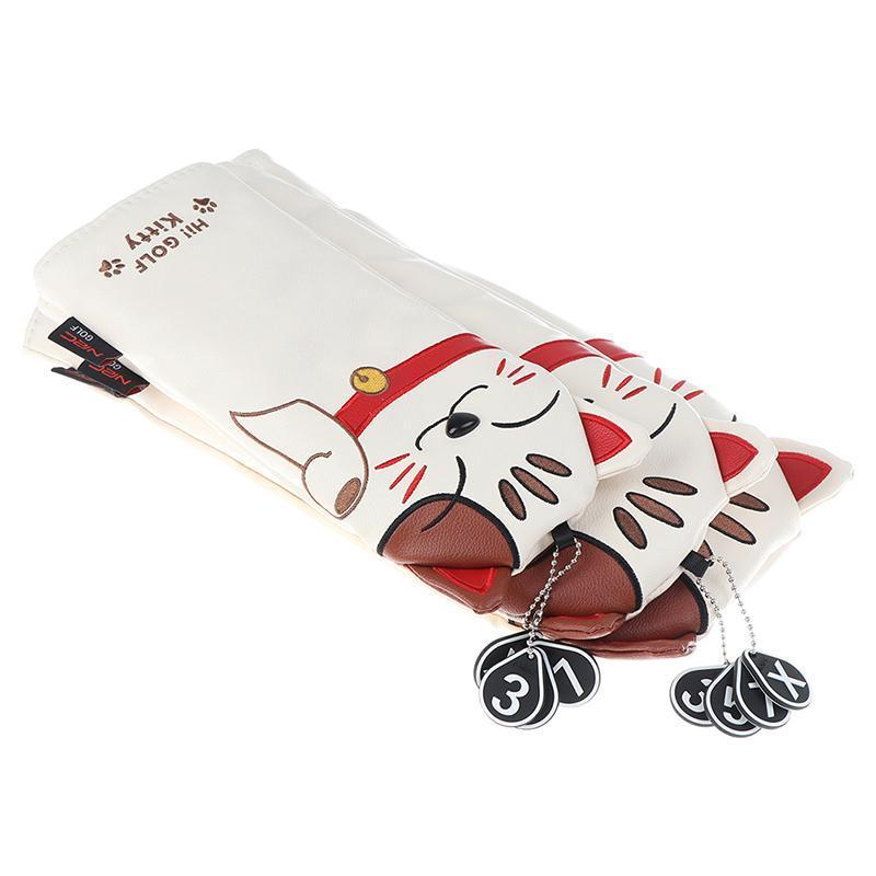Storage Bags Golf Club Head Covers Cartoon Animal Cat Headcover Driver Fairway Wood Hybrid Set
