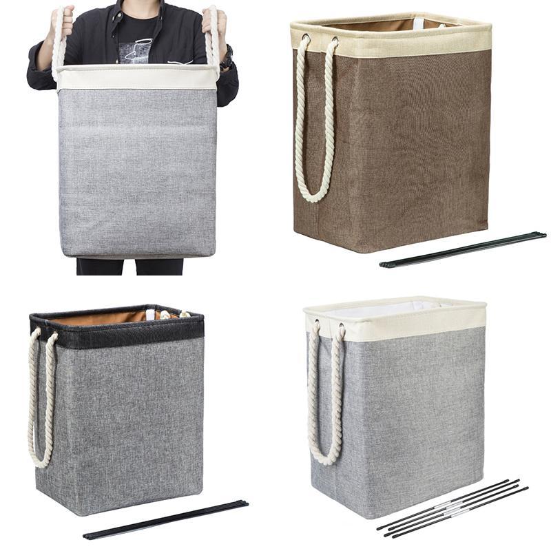 سلال تخزين المنزل مربع الملابس القذرة تخزين سلة طوي النسيج الغسيل سلة القطن الكتان المواد سعة كبيرة XD24538
