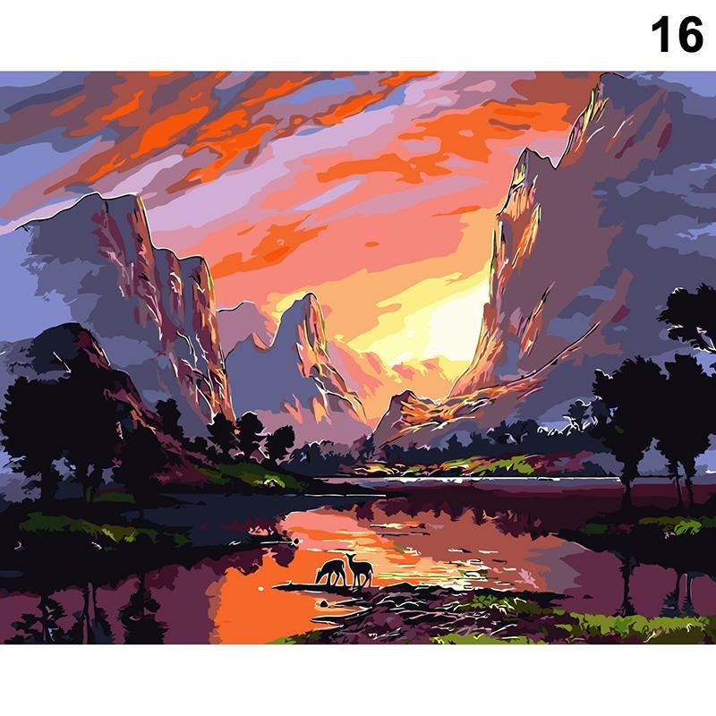 Paintings Painting By Numbers Scenery DIY Oil Coloring Street Landscape Canvas Paint Art Pictures Home Decor HFD889