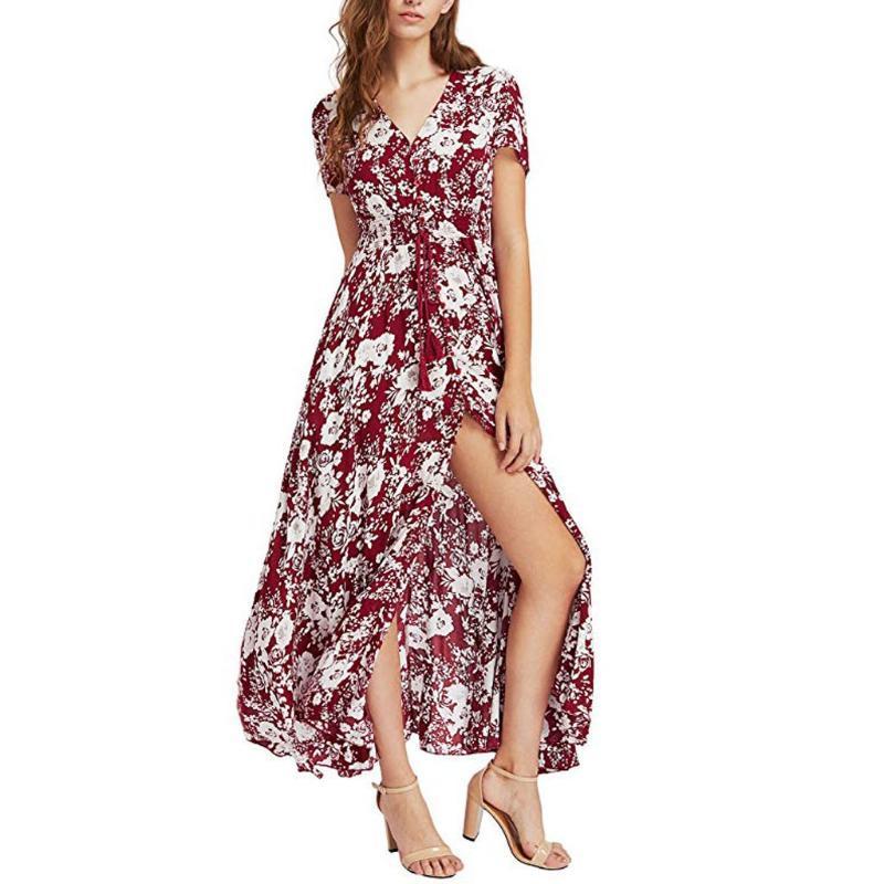 캐주얼 드레스 2021 보헤미안 여성 꽃 인쇄 맥시 버튼 짧은 소매 분할 유동 파티 긴 드레스 비치 Femme Vestidos
