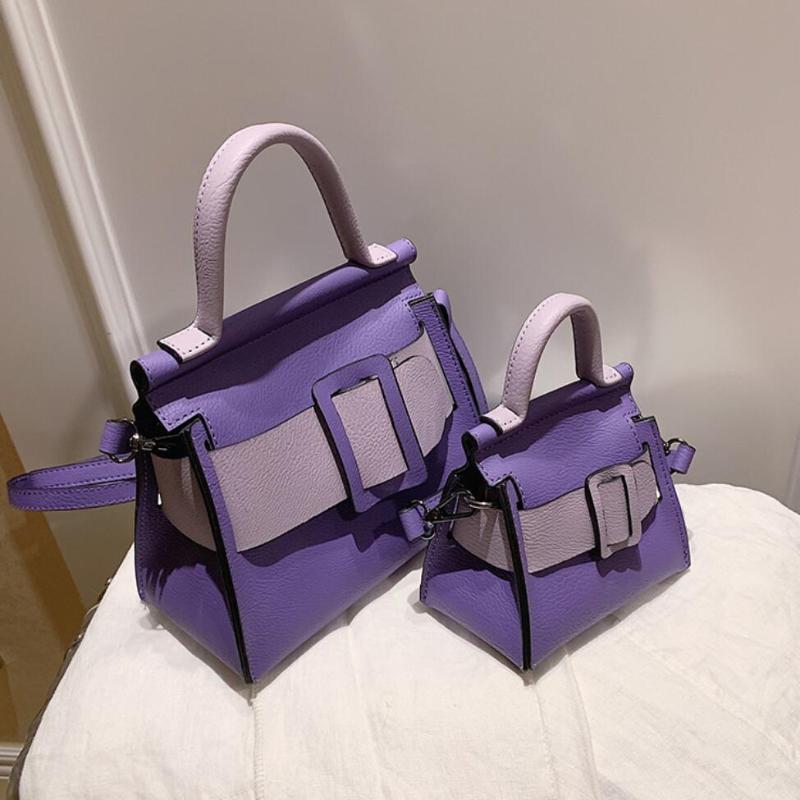 Messenger Designer Mini Tote Contrast 2021 Мода сумка Высококачественная Цветная Кожаная Путешествия Сумка Женщина Новый PU RCSGP
