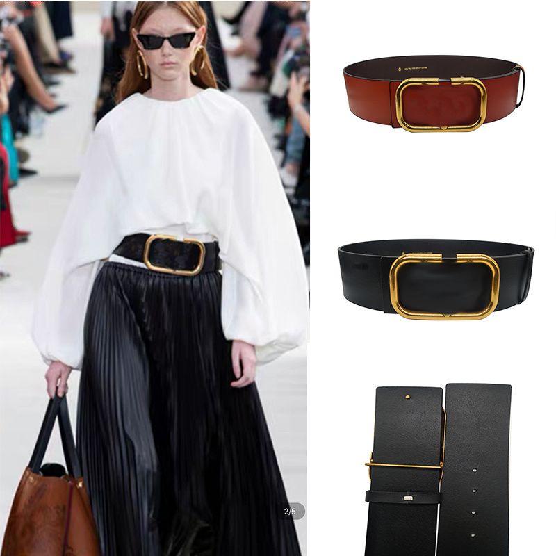 Mode Design Courroies Femmes Split Cuir Solide Plaqué Or Boucle Boucle 7cm Large Cummerbunds Corset de luxe