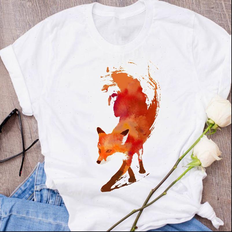 Женщины Графические лисицы Животные Мультфильм Печать 90S Симпатичные Короткие Рукав Распечатать Одежда Леди Tees Tops Женская футболка Женская футболка