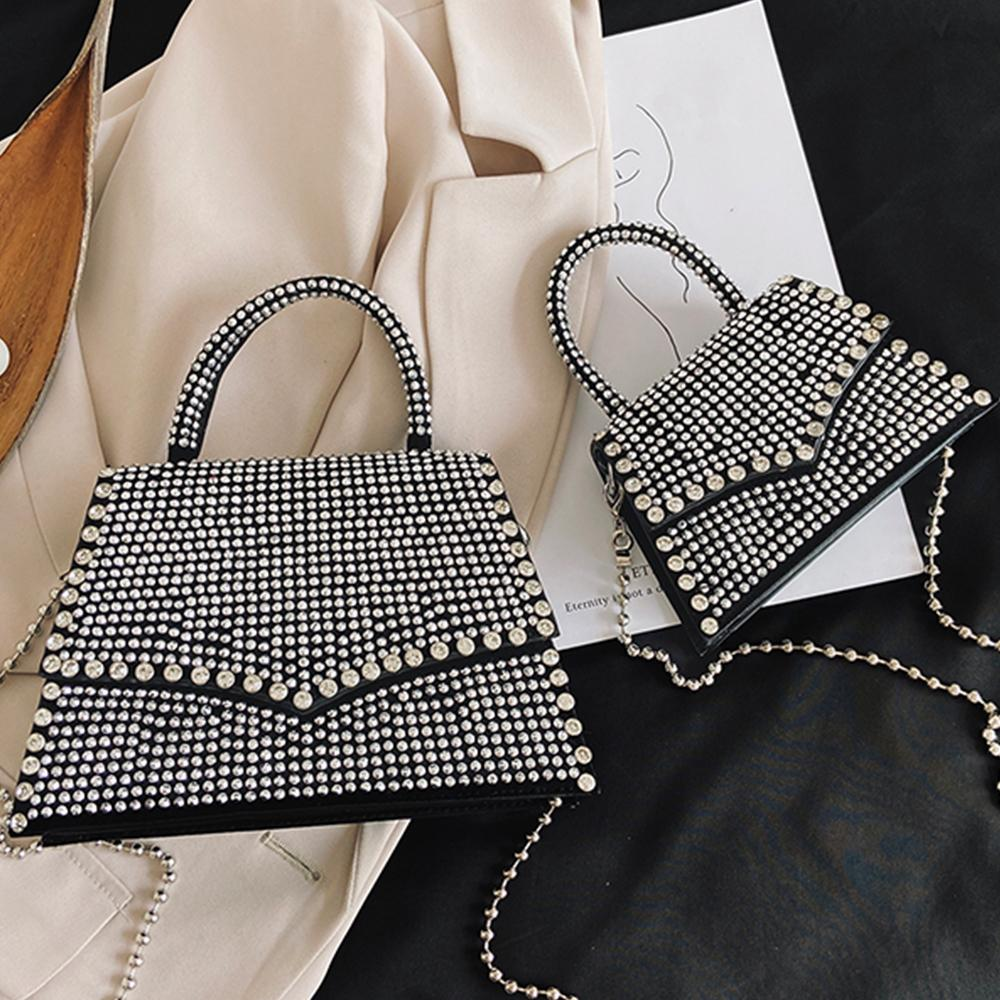 Fashion Diamonds Women Handbag Chain Crossbody Bags for Women 2021 Shoulder Bag Designer Rhinestone Party Evening Wedding Purse C0308
