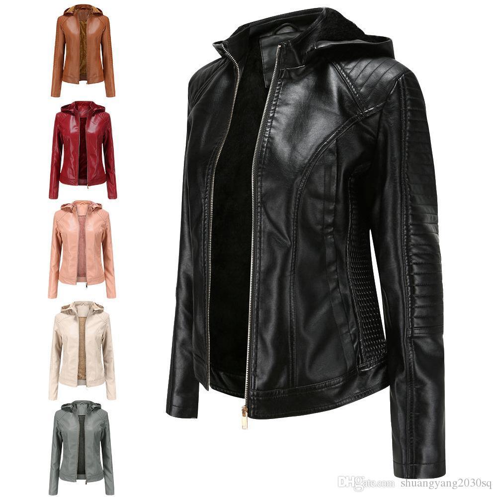 Giacca in pelle PU peluche da donna Fodera con cappuccio Plus in velluto cappotto autunno e inverno Giacche invernali Calda Cappotti Outdoor