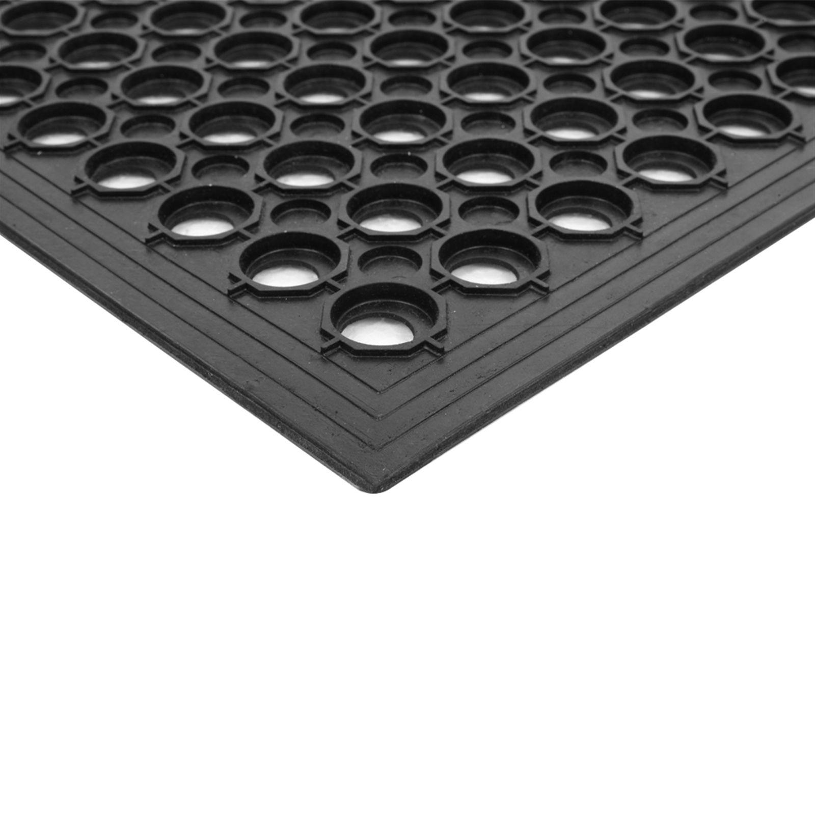 "Home Textiles Carpets Anti Fatigue Rubber For kitchen 6 ""x 9"" Restaurant Bar Floor Commercial Heavy Duty Drain Black Slip Mat"