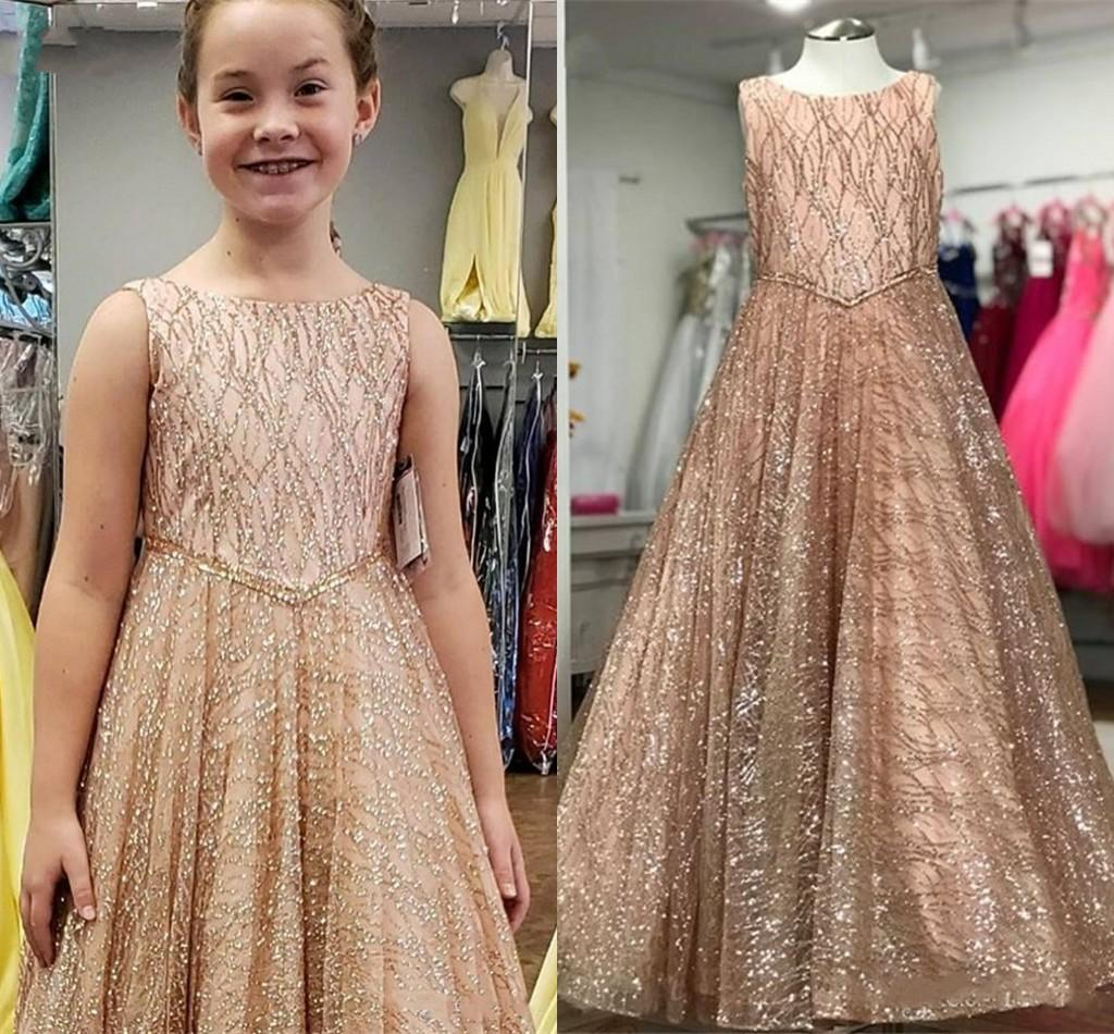 2021 Bling Tulle Rose Pink Flower Girl Dresses For Wedding Beaded Belt Jewel Cap Sleeve Party Pageant Dress Kids Formal Evening Gowns Toddle