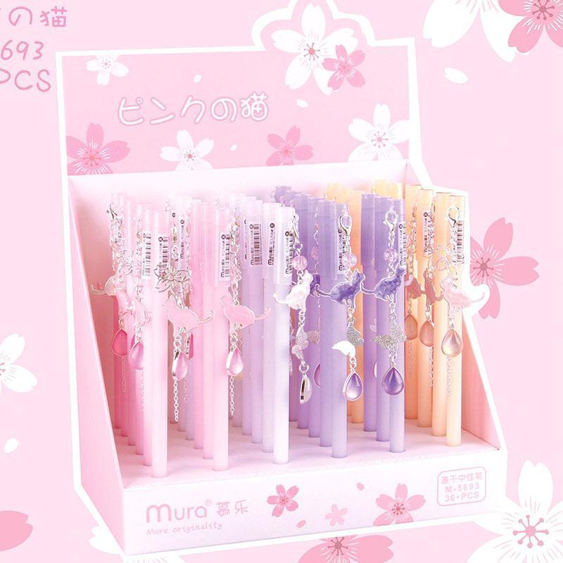 36 pcs/lot Beautiful Cherry Cat Pendant Gel Pen Cute Sakura 0.5mm black ink Signature Pens office school writing supplies gift