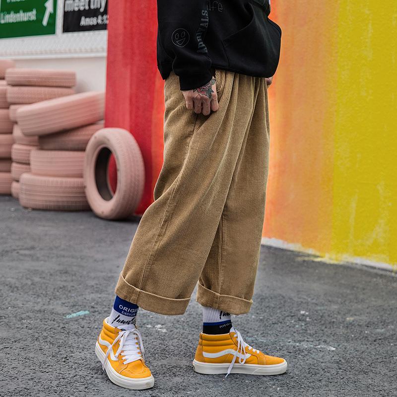 Corduroy широкие брюки для ног Мужчины Женщины Streetwear Хип-хоп Повседневная Брюки Мужчины Японская Эластичная талия Свободный Свободный Цветной Baggy Jogger 201217