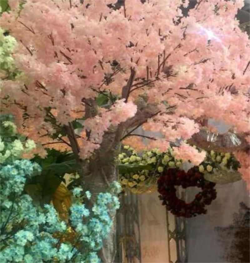 Simulato Cherry Blossom Impianti artificiali Decorazione della casa Seta Cherry Blossoms Bouquet Artificiale Festival di nozze Festival decorativo 36 S2