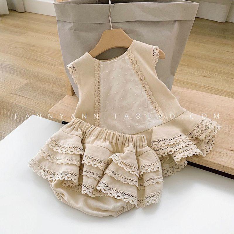 2019 Summer Enfants Girls Impression enfants Robes Mignonnes Ruches + Shorts 2PCS Baby Girl Vêtements Ensembles de vêtements