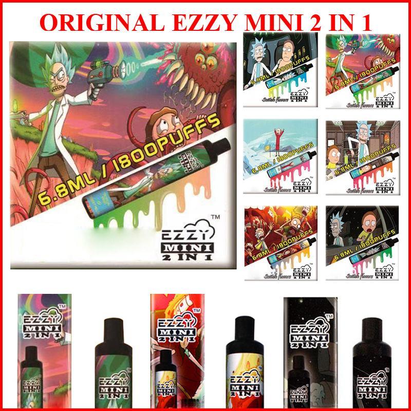 1 일회용 vape 전자 담배 펜 장치 1800 퍼프 6.8ml 카트리지 포드 800mAh 배터리 전자 vapes