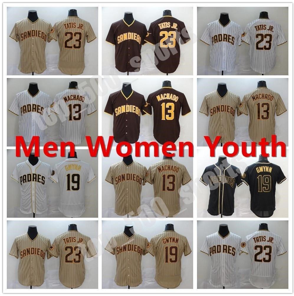 맞춤형 새로운 2021 남자 여성 청소년 19 토니 Gwynn Jersey 샌디에고 13 Manny Machado 23 Fernando Tatis Jr. Flex Base Cool Base Baseball