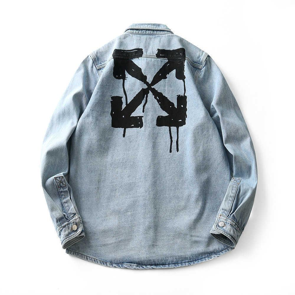 Neue OFF CLASSIC ARRSSTYLE SPRAY PAINT SPLASH SPRECHE DRUCK DENIM Hemdjacke Charge im Herbst und Winter 2020