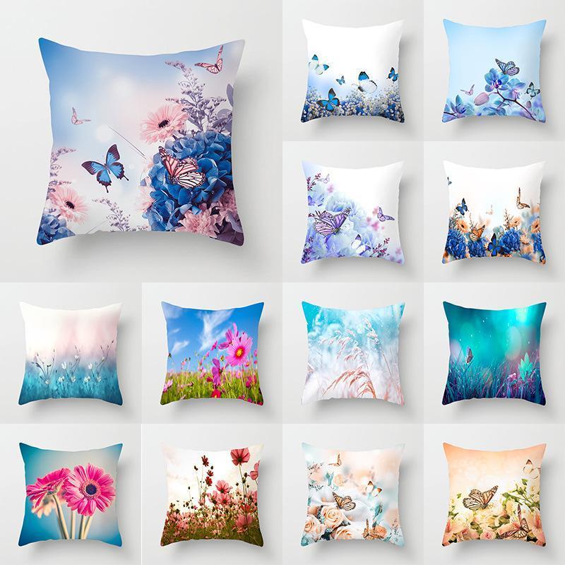 Kissen / dekorative Kissen Wuyi Schöne Schmetterlingsblumen Kissenbezüge Rose Rosa Blue Sky Cover Dekorative Weihnachten für Couch Sofa