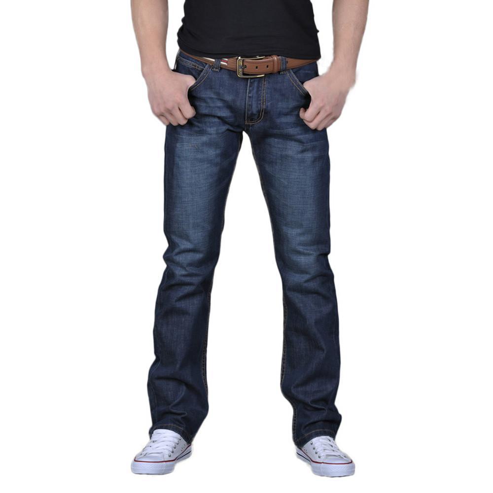 Мода мужская повседневная осень джинсовая хлопковая хип-хоп свободная работа длинные брюки брюки джинсы гомеры # T2G