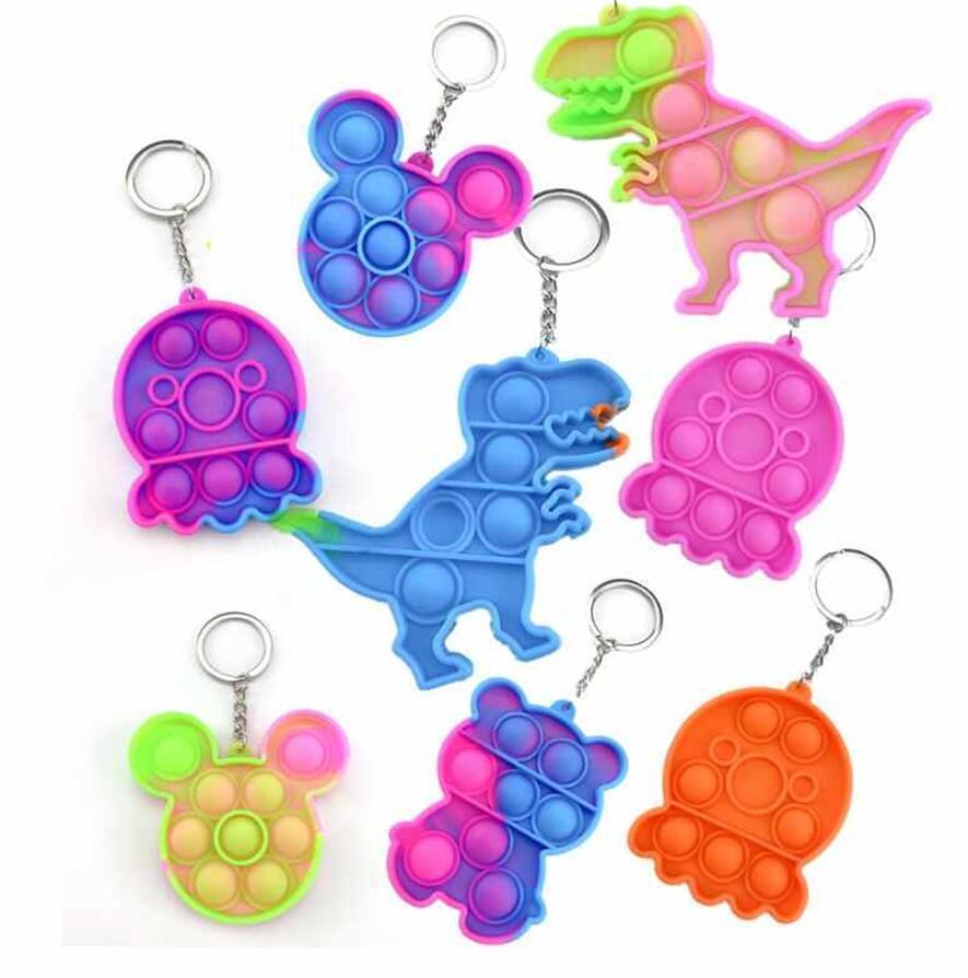 DHL Simple Kids Toddler Push Bubble Keychain Party Favor Sensory Fidget Toy Spänning Lätt Nyckel Ringbräda Finger Pendants BJ21