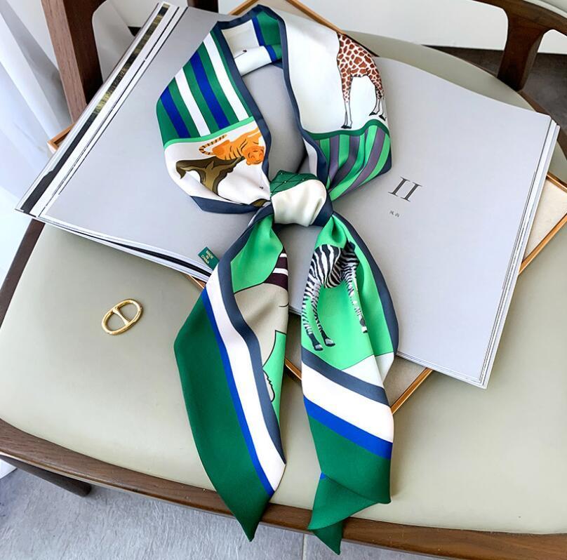La nueva bufanda de seda de la banda de seda de la tira delgada y estrecha de las mujeres de la bufanda de la esquina retro de la rincina de la esquina de la banda atada con la bolsa de la cinta del cabello la bufanda GC13